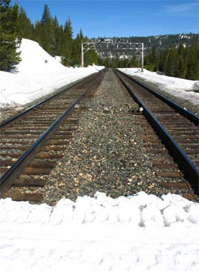 Image of railroad tracks that are crossed along route