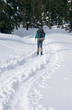 Image of skiing toward Castle Pass
