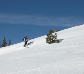 Image of skier crossing open area on descent from Andesite Peak.