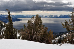 Image of Lake Tahoe from above Ginny Lake