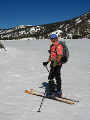 Image of skier along south shore of Lower Echo Lake