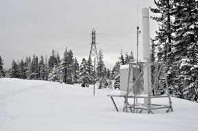 Image of SMUD rain gauge and power lines