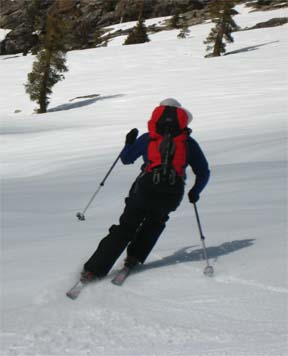 Image of skier descending barren slope