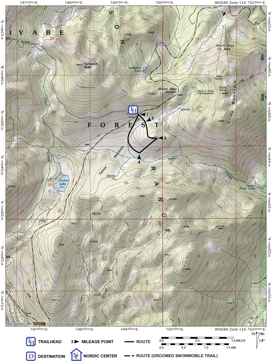 Full page map for ski tour